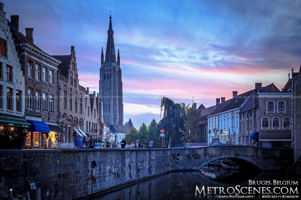 Church of Our Lady at sunset along the Dijver canal