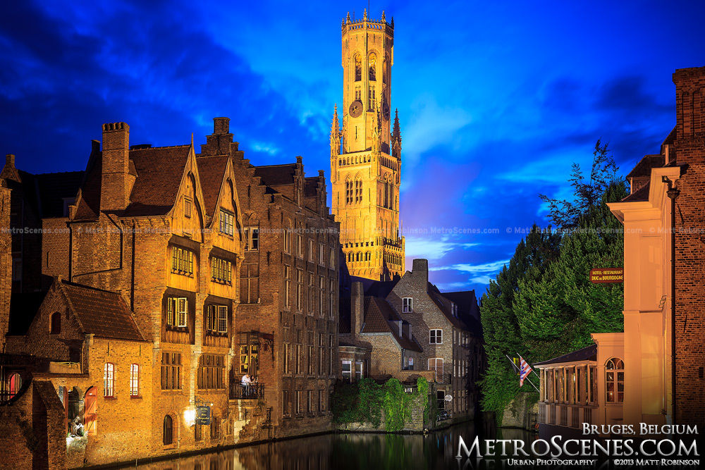 Dijver Canal at magic hour with the Belfrey of Bruges