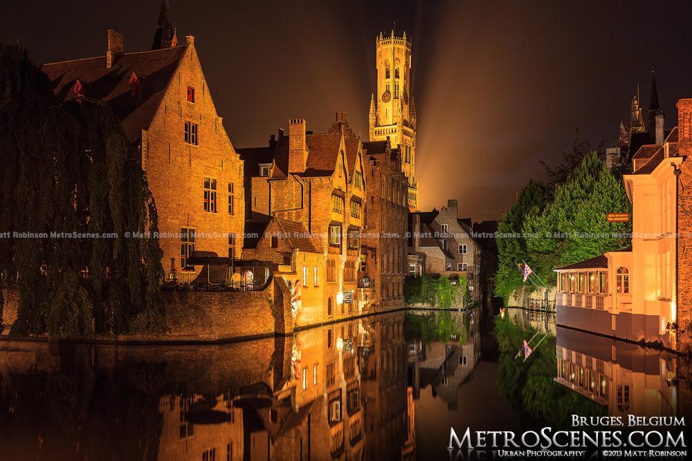 Dijver Canal and Belfrey at night, Bruges Belgium
