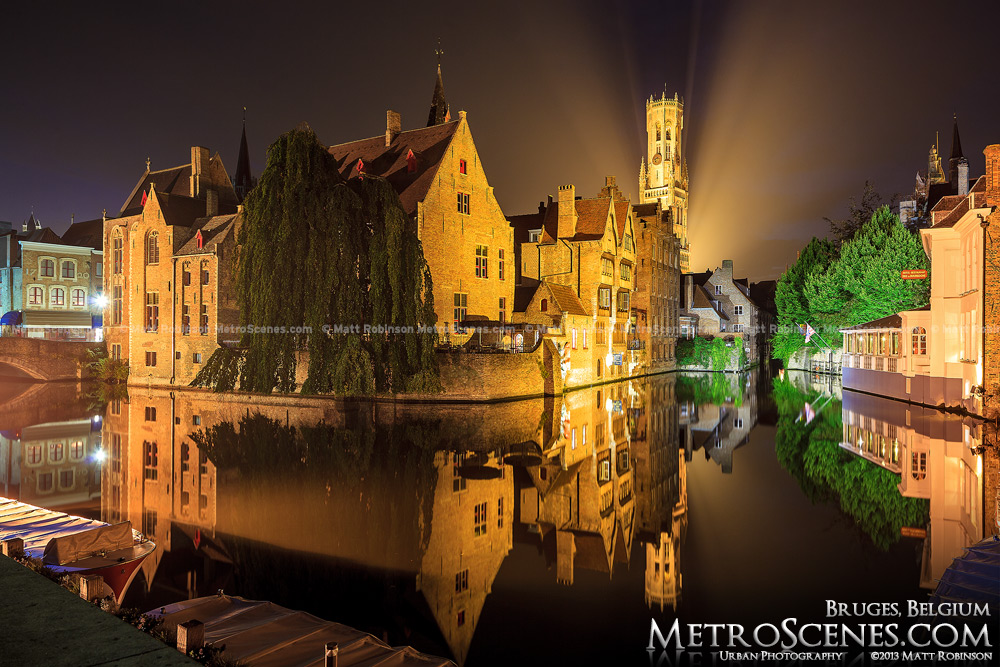 Dijver Canal and Belfrey at night, Bruges Belgium