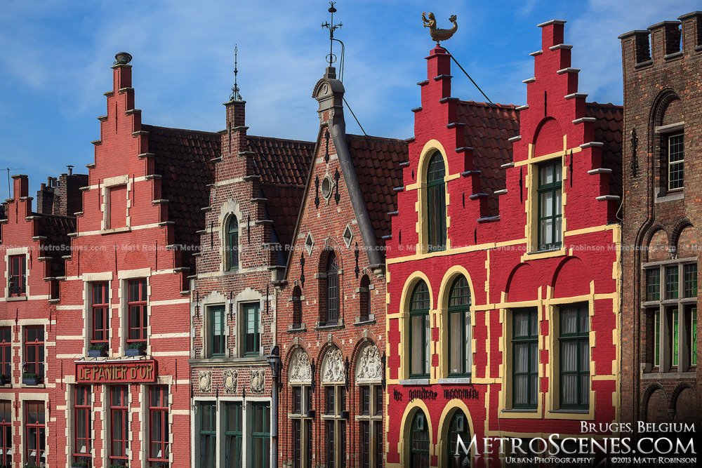 Colorful Stepped Gables in Bruges, Belgium