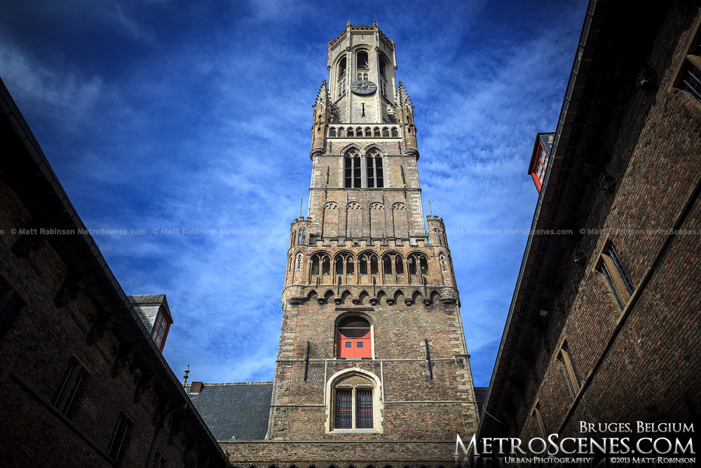 Belfrey tower of Bruges from the old market courtyard