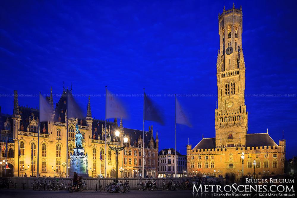 Markt Square at night with Belfrey of Bruges