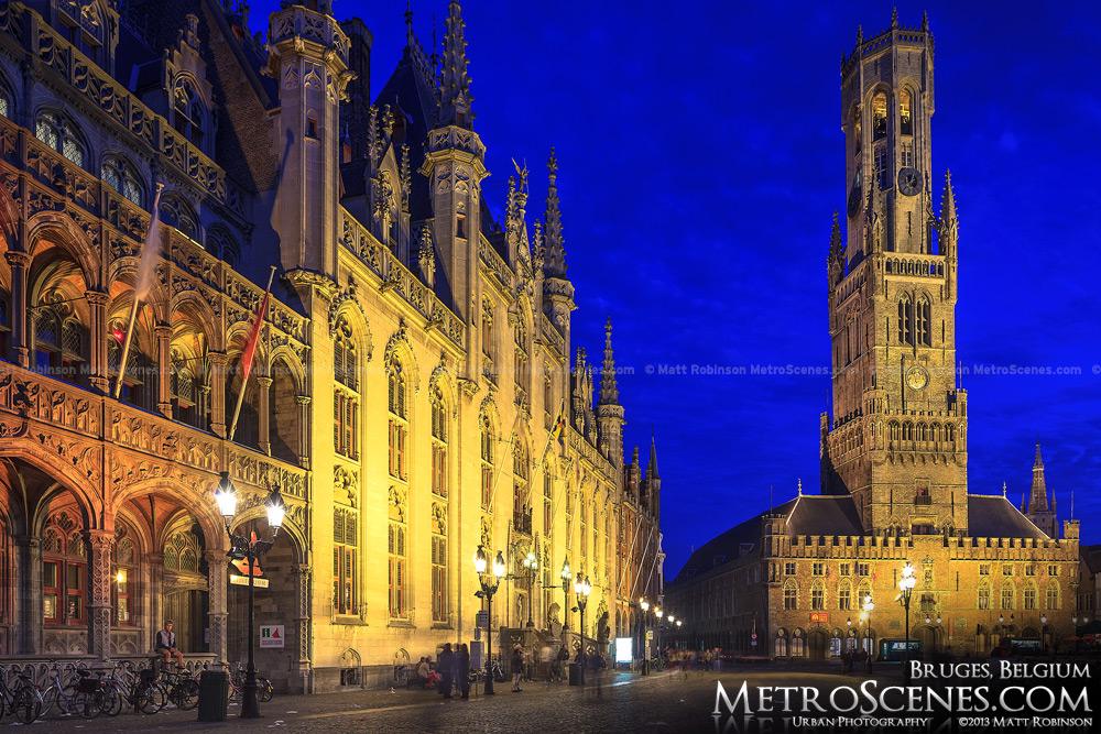 Floodlit Provincial Court Building with Belfrey of Bruges, Belgium at night