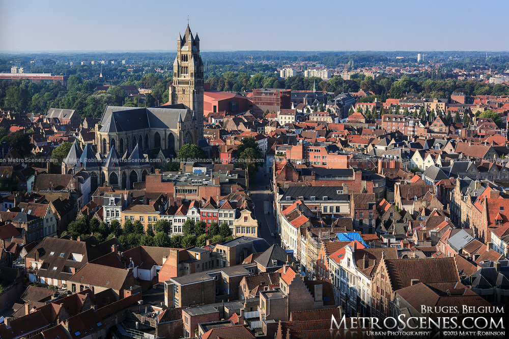 View of St. Salvator's Church and Bruges from the Belfry tower