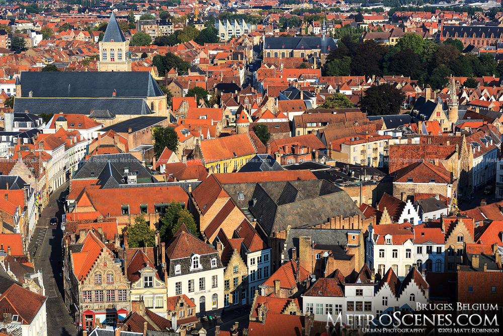 Aerial view of orange Bruges rooftops