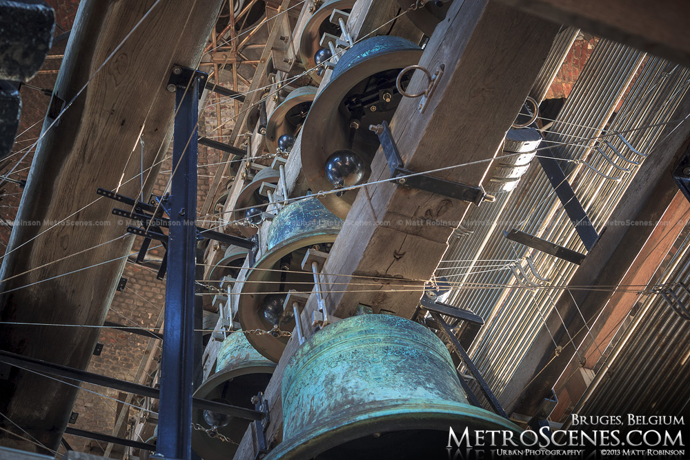 Multiple bells in the Bruges bell tower