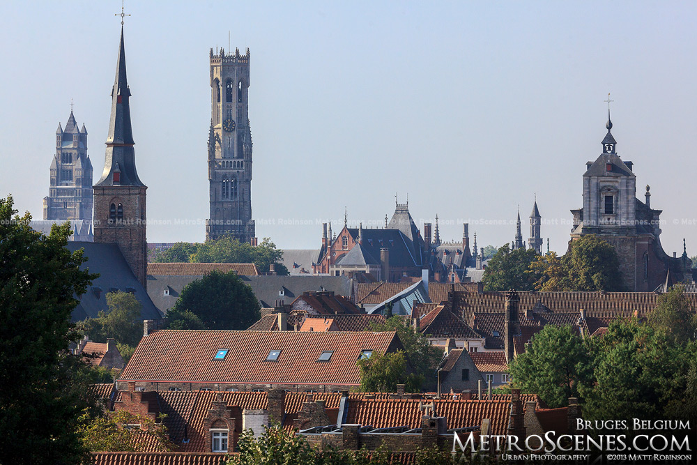 Bruges skyline of steeples and bell towers