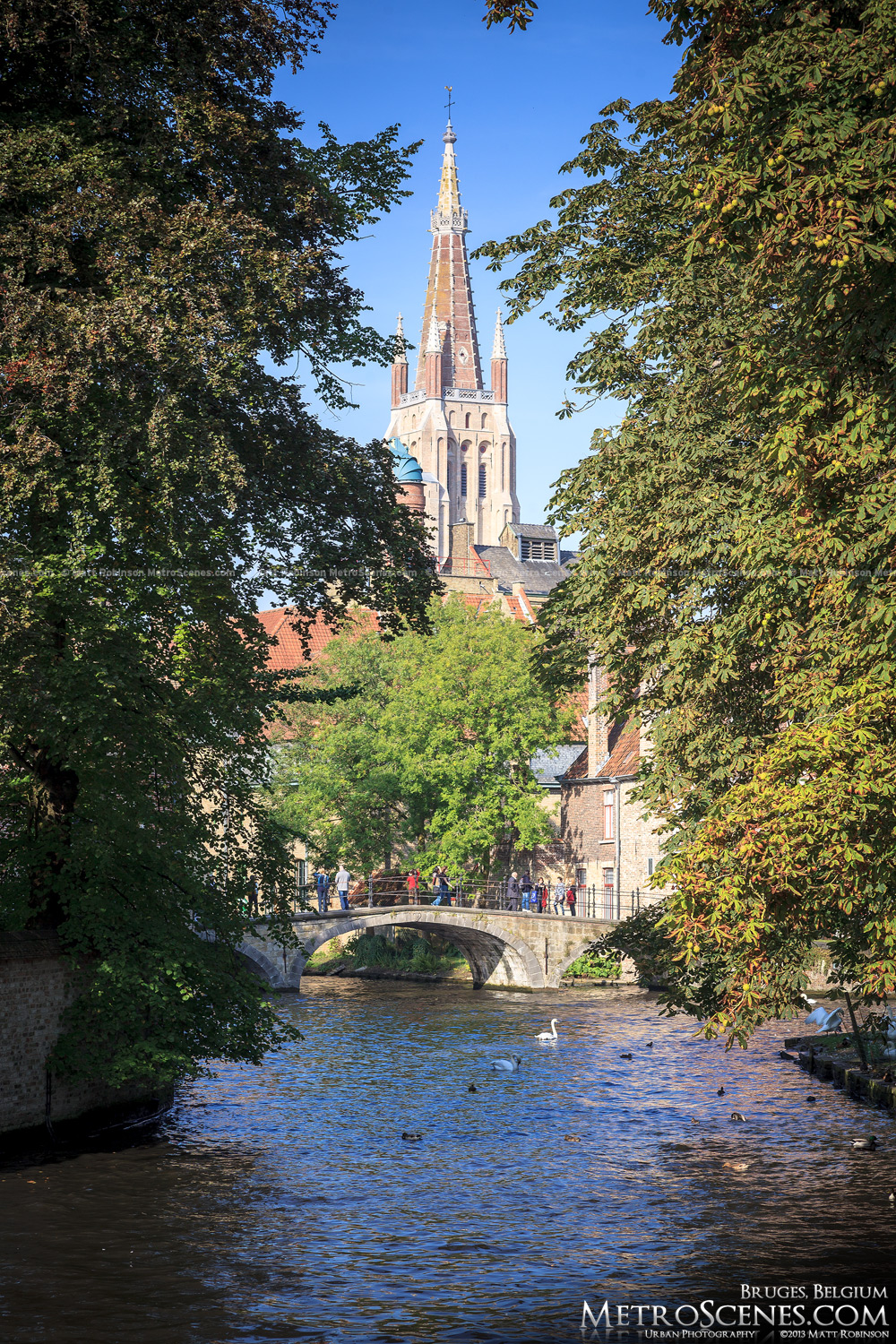 View of Church of Our Lady and canal from Begijnhof