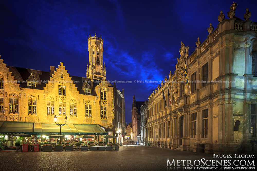 Burg Square at night in Brugge