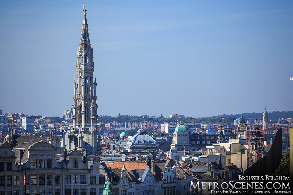 Brussels Town Hall Tower rises above the city