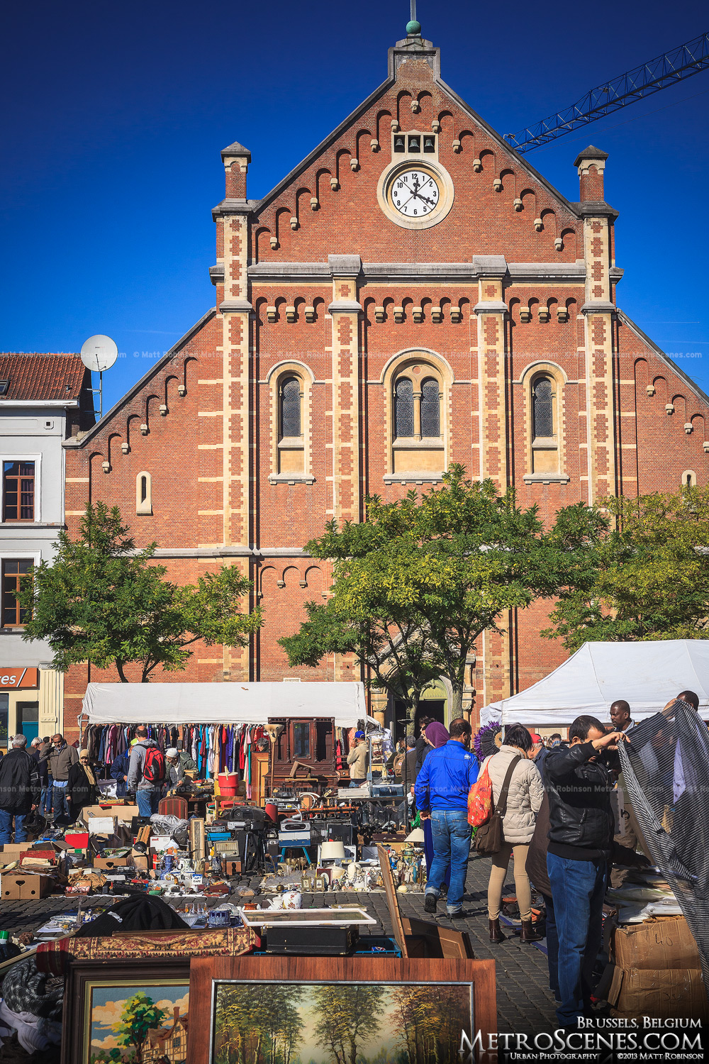 A flea market at Vossenplein in Brussels