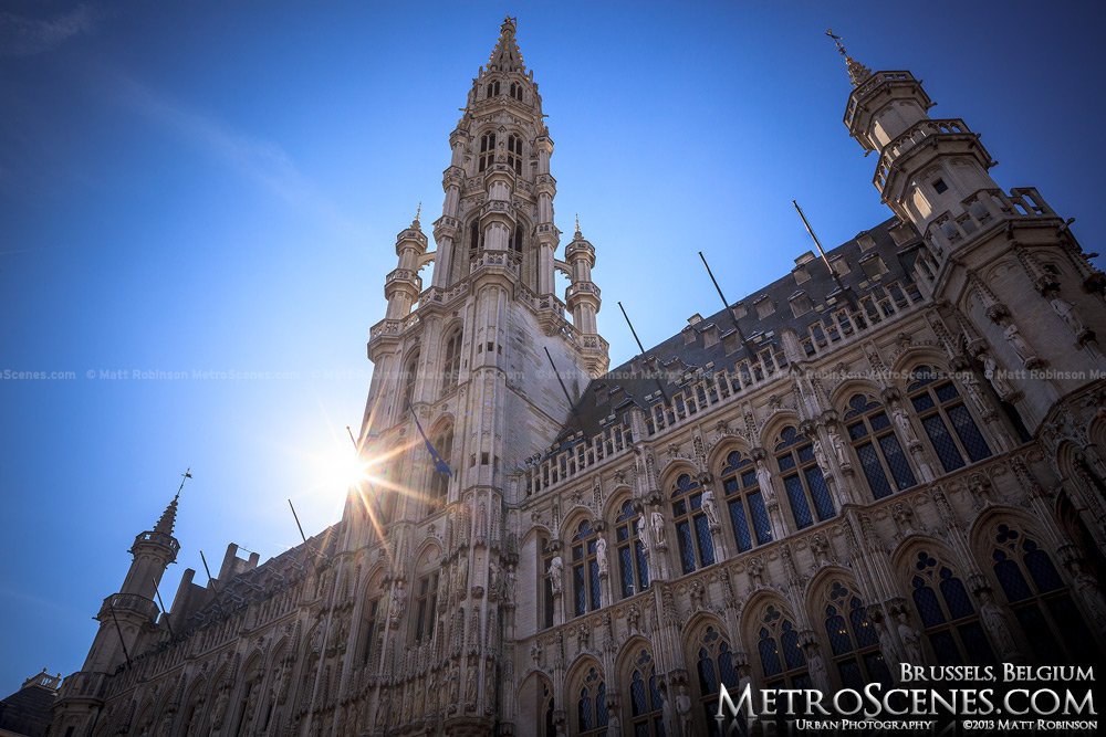 Brussels Town Hall Tower in Grand Place