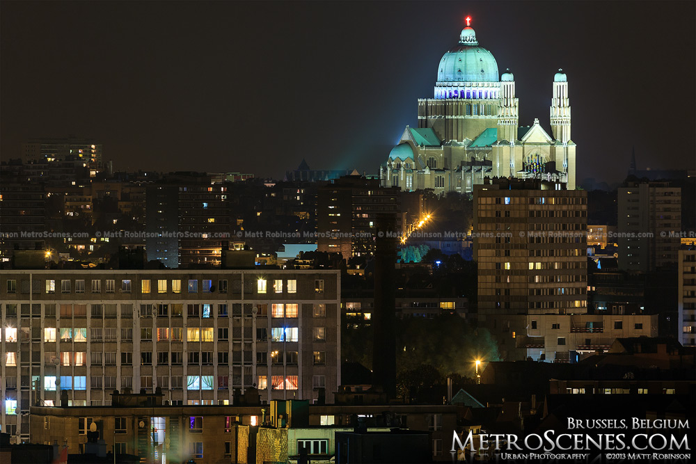 Basilica of the Sacred Heart, Brussels at night