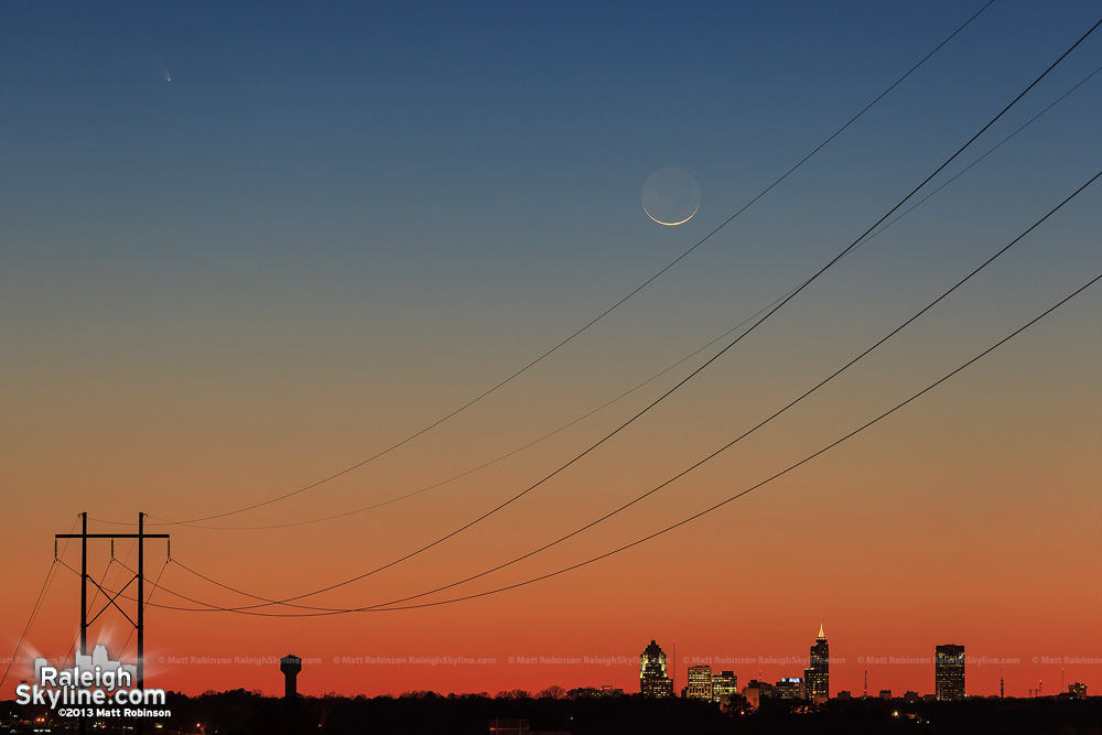 Comet Pan-STARRS and crescent moon over the Raleigh skyline