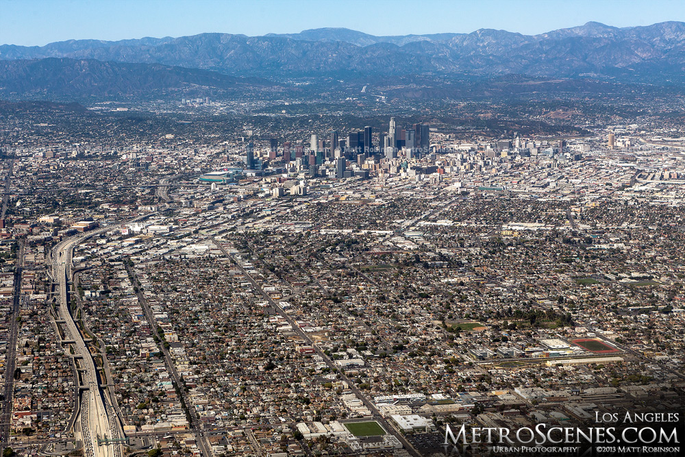 Aerial of Downtown Los Angeles and nearby mountains