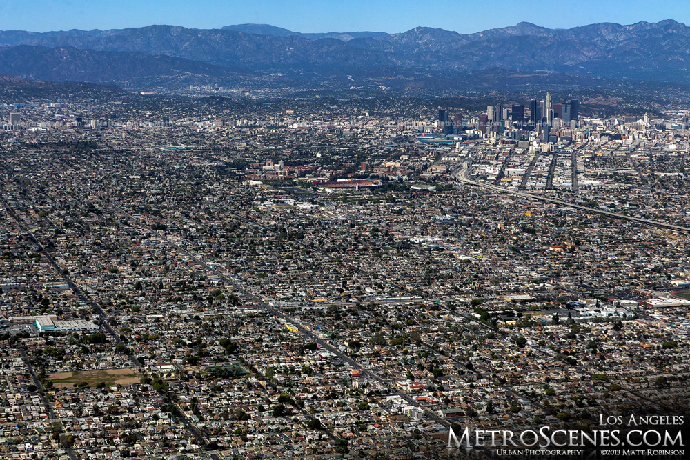 Los Angeles Aerial with San Gabriel Mountains