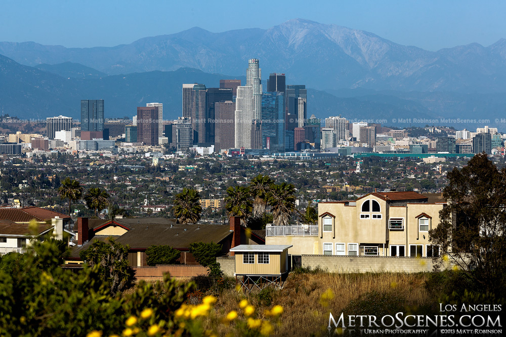 Mount Baldy Rises behind the Los Angeles Skyline in the spring