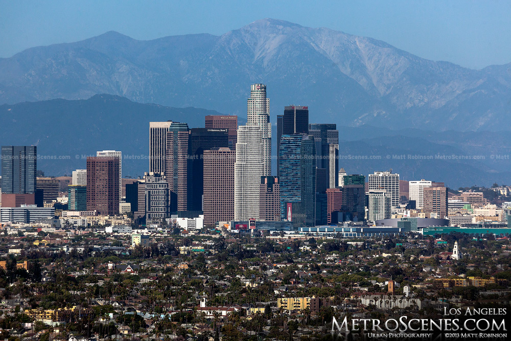 Los Angeles Skyline seen with Mount San Antonio