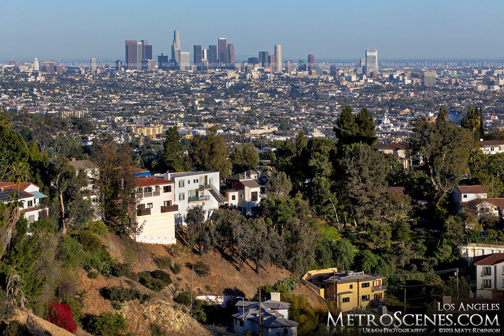 Downtown Los Angeles with homes of Hollywood Hills