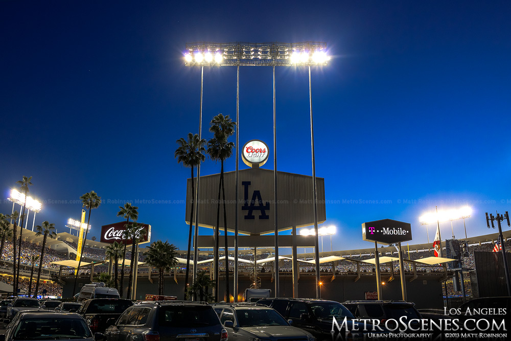 Dodger Stadium scoreboard seen from parking lot