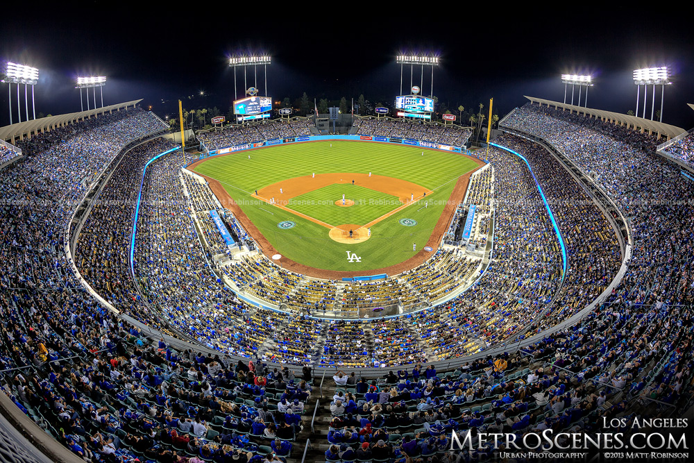 Fisheye of Dodger Stadium at night