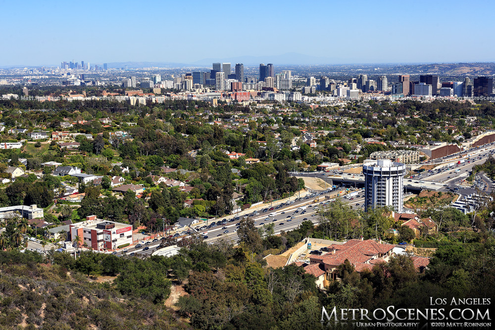 Distant Los Angeles with Century City, Interstate 405 and Hotel Angeleno from the J. Paul Getty Museum