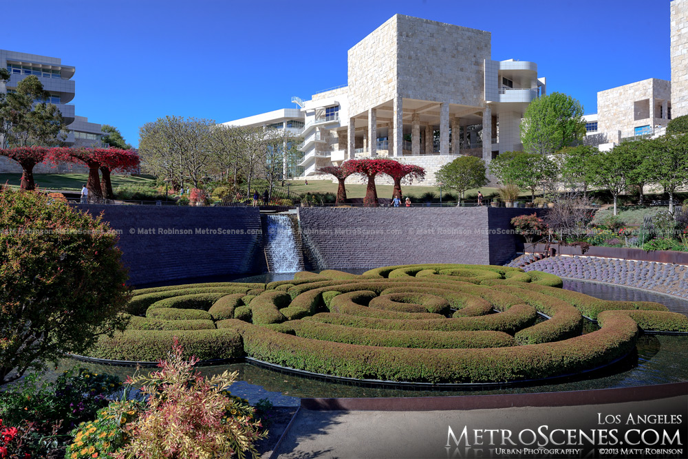 The Getty Center with the maze at the central gardens
