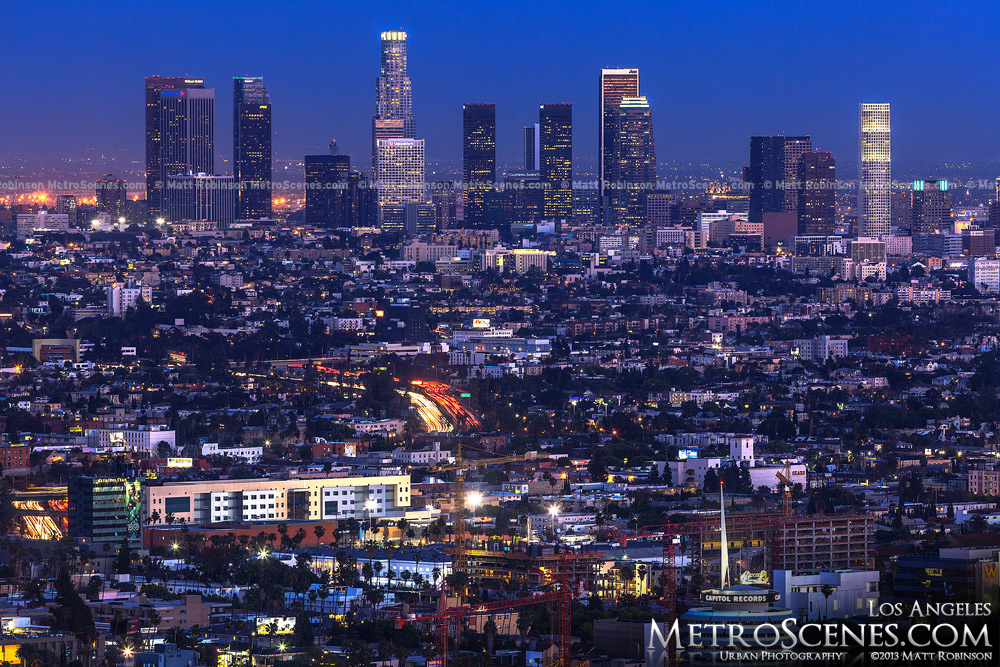 Los Angeles Skyline at night from Hollywood Bowl Overlook