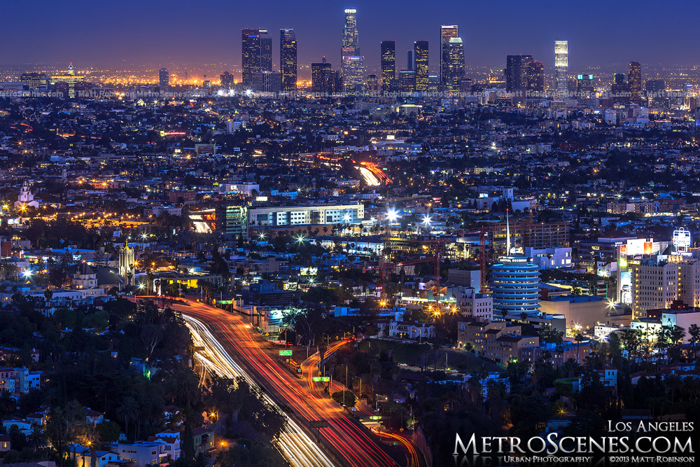 The City Of Los Angeles and Hollywood at magic hour with traffic on the 101