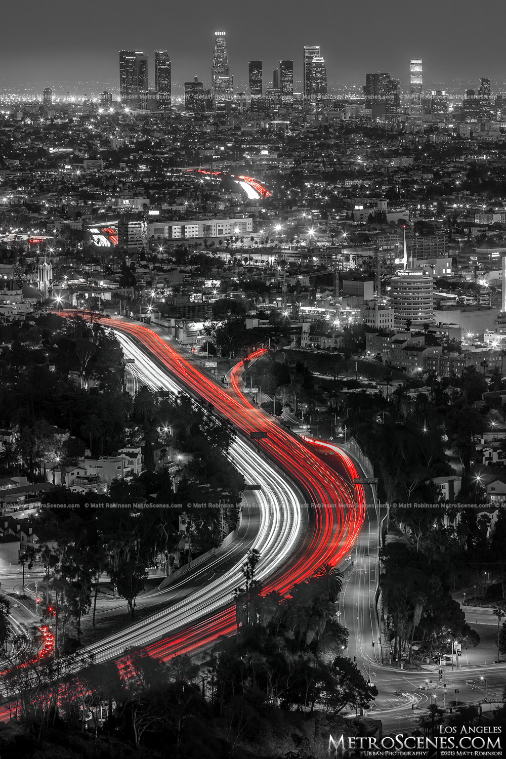 Black and White and Red Traffic Los Angeles