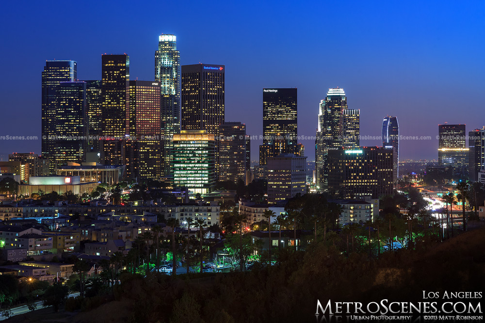 Los Angeles Skyline at blue hour from Dodger Stadium