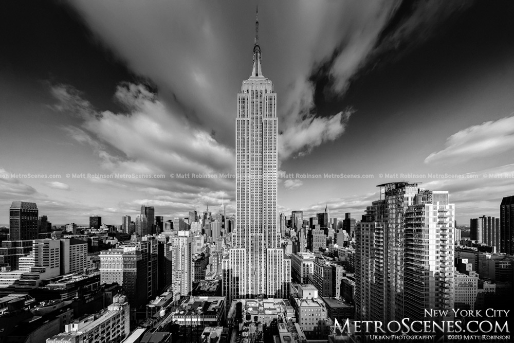 Black and White Empire State Building from Koreatown