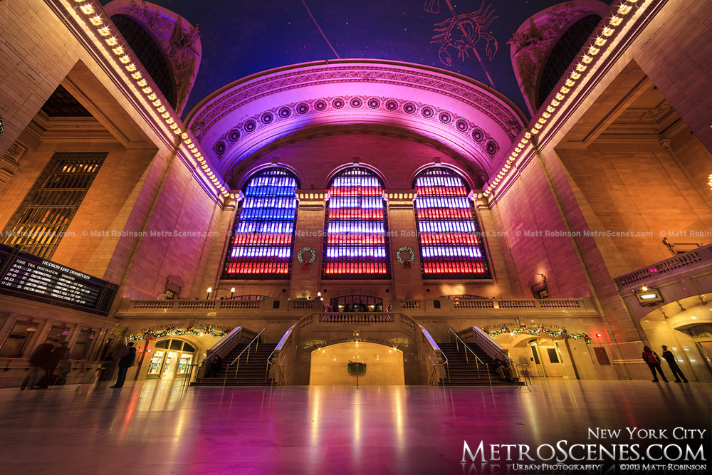American Flag Holiday Lights at Grand Central Terminal