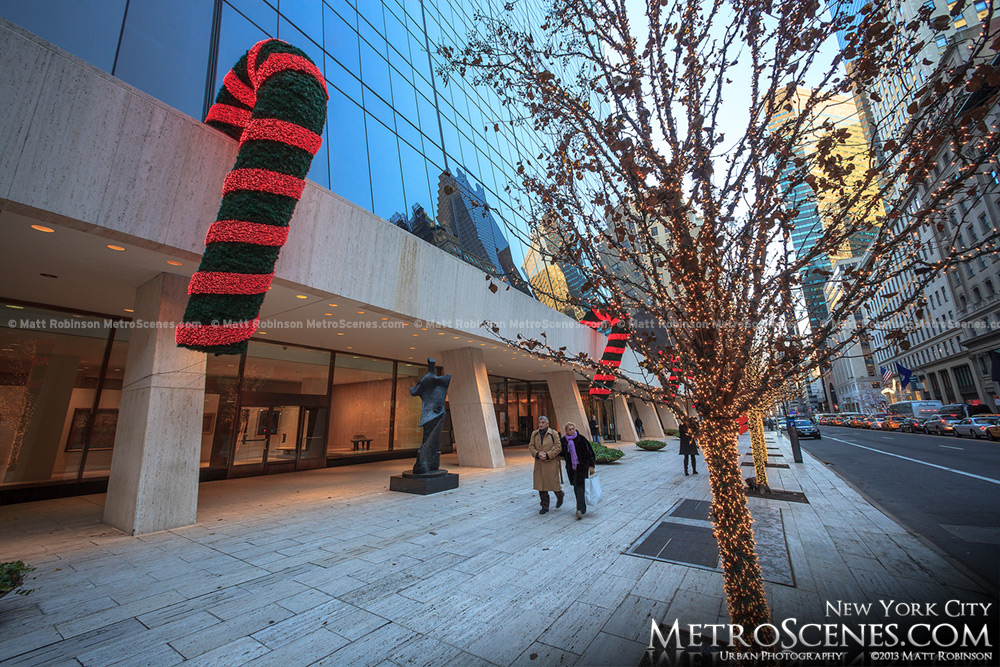 Candy Canes and and lighted trees at the Solow Building, NYC