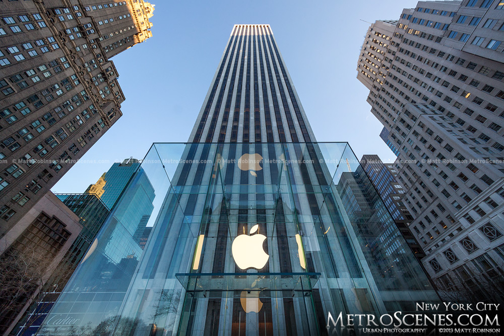 Fifth Avenue Apple Store Cube with General Motors Building