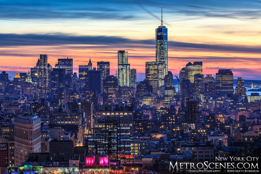 Lower Manhattan with the New World Trade Center at sunset