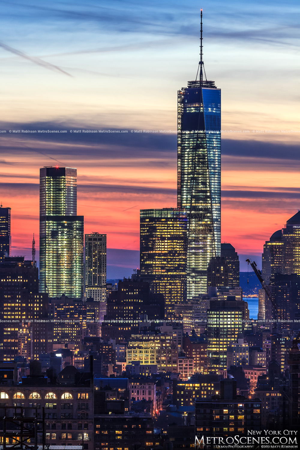 One and Four World Trade center at sunset