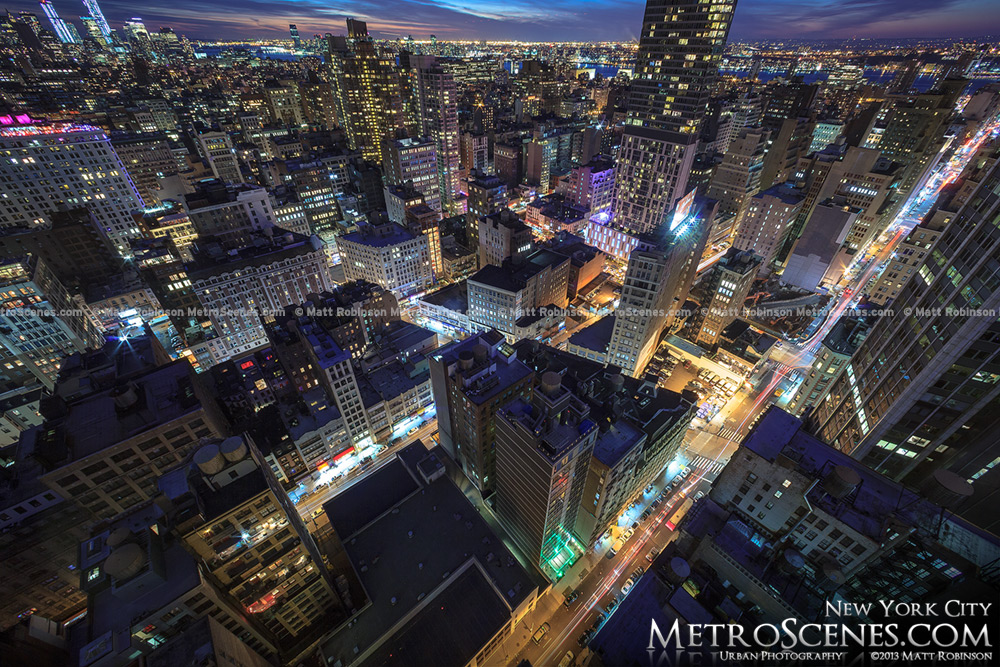 Looking down on New York City streets at night