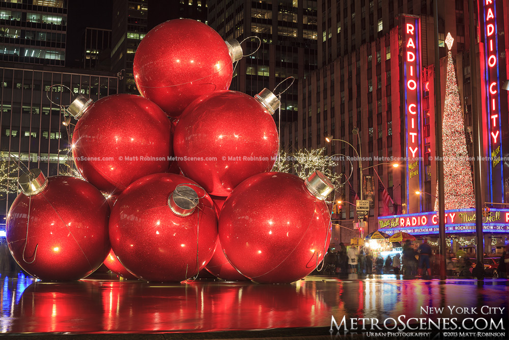Giant Christmas Ornaments and Radio City Music Hall