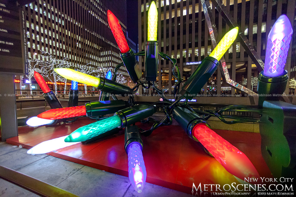 Giant Christmas Light Display Along Avenue Of The Americas