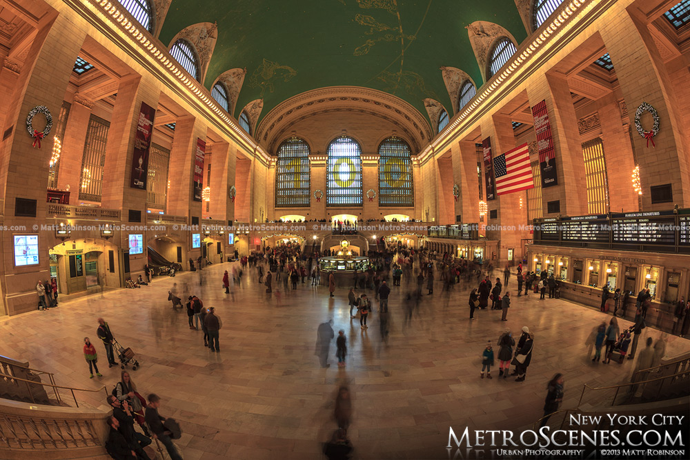 Fisheye of Grand Central Terminal at Christmas