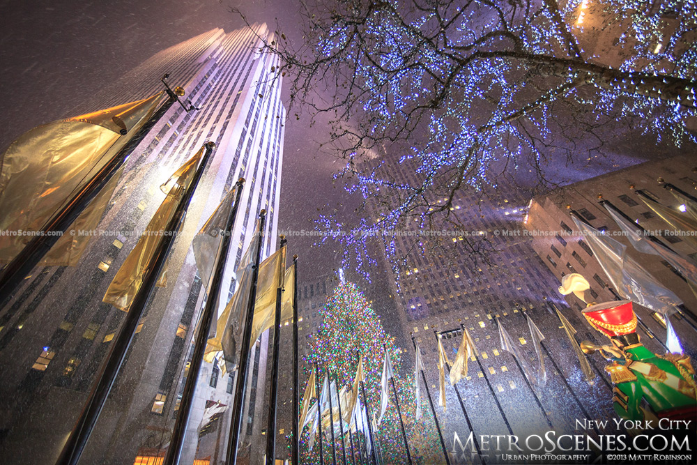 Snow flurries at Rockefeller Center at Christmas