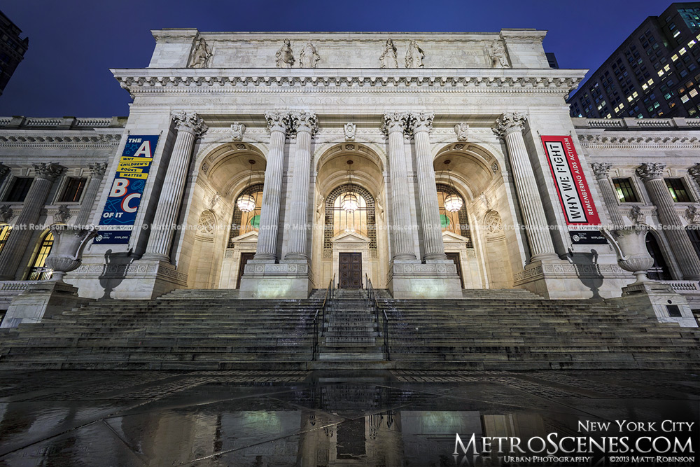 New York Public Library at Bryant Park at night