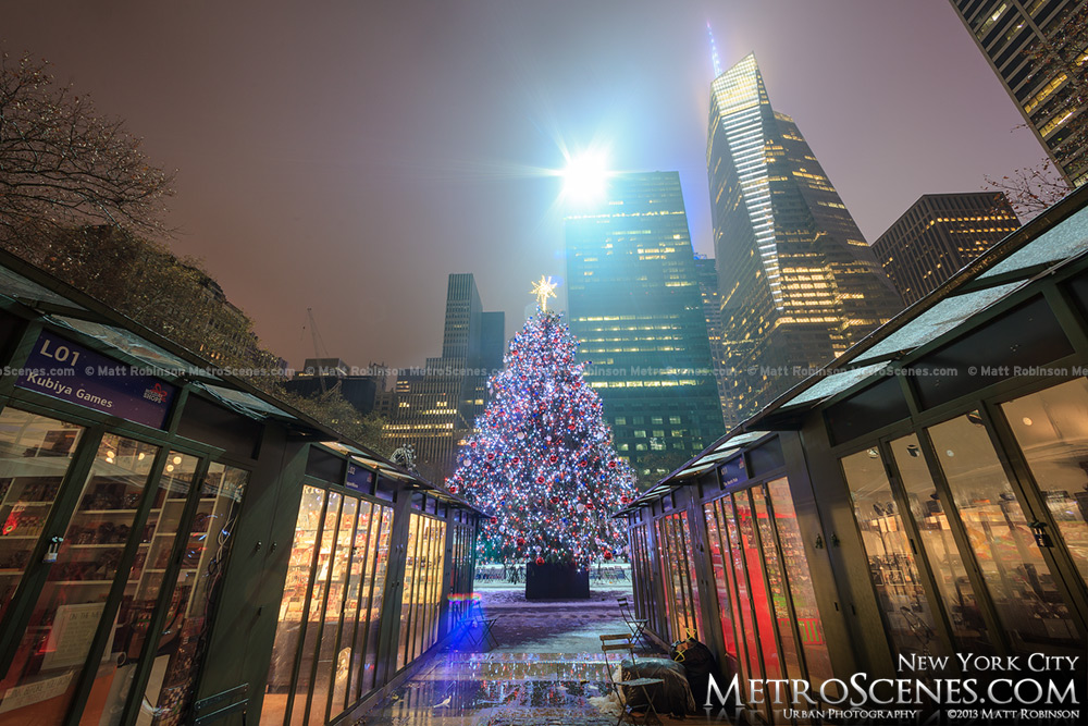Bryant Park Christmas Tree at midnight