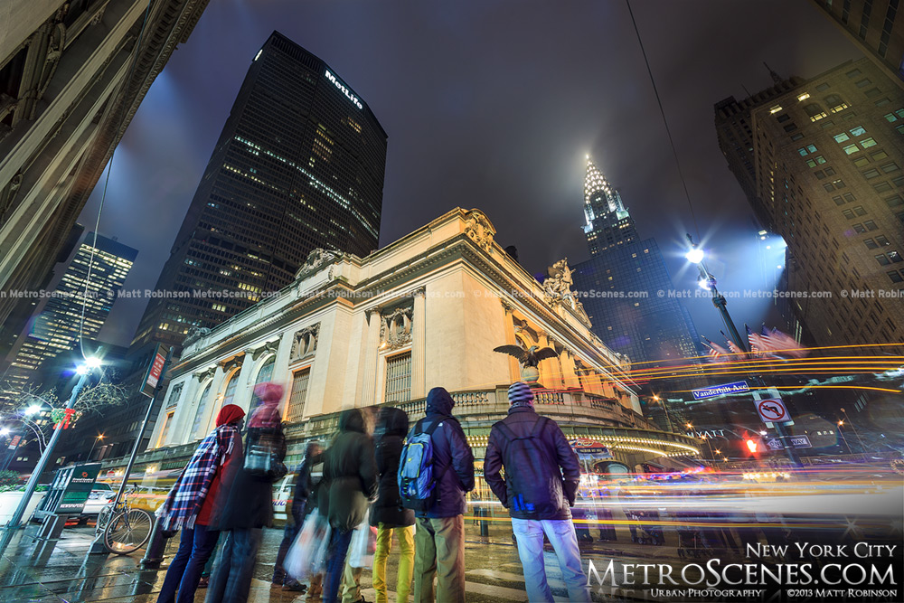 Grand Central Terminal with the Met Life Building at Night