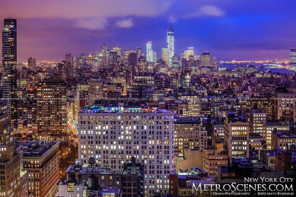 Lower Manhattan Cityscape at night