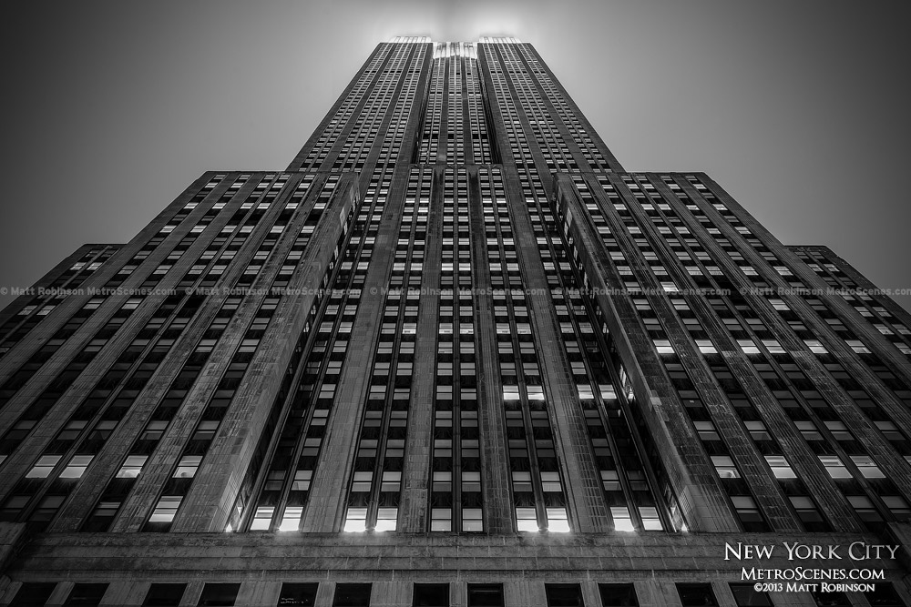Black and White Empire State Building at night