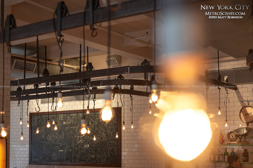 Bulbs and meat hooks at 5 Napkin Burger