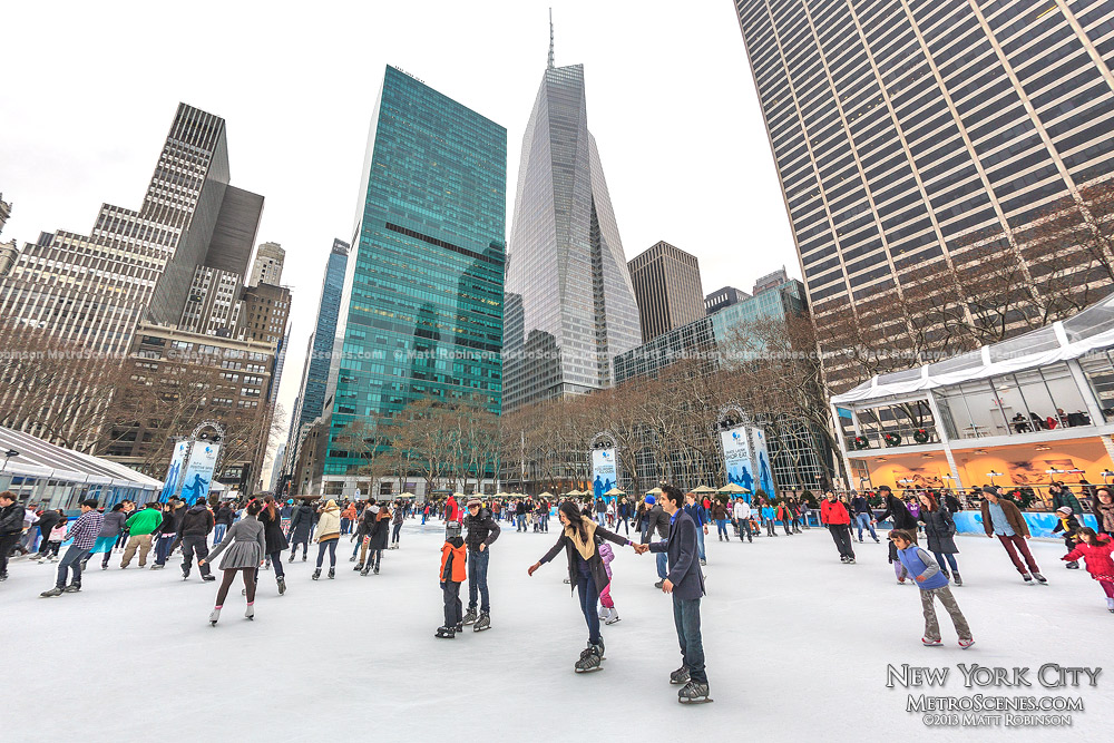 Skaters on Citi Pond at Bryant Park